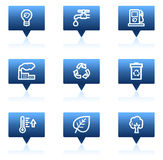 Ecology web icons set 1, blue speech bubbles Royalty Free Stock Images
