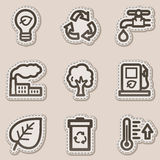 Ecology web icons set 1, brown contour sticker Stock Images