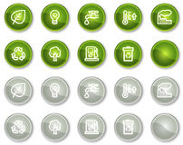 Ecology web icons set 1, circle buttons series. Vector web icons set. Easy to edit, scale and colorize stock illustration