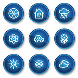 Ecology web icons set 2, blue circle buttons Stock Photo
