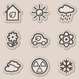 Ecology web icons set 2, brown contour sticker. Vector web icons set. Easy to edit, scale and colorize royalty free illustration