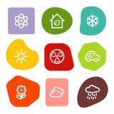 Ecology web icons set 2, colour spots series vector illustration