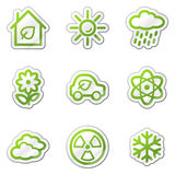 Ecology web icons set 2, green contour sticker. Web icons set. Easy to edit, scale and colorize vector illustration