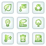 Ecology web icons, white square buttons series Stock Photos