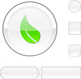 Ecology white button. Ecology white buttons. Set of illustration Stock Image