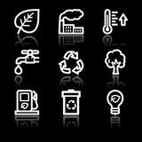 Ecology white contour web icons Royalty Free Stock Image