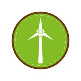 Ecology wind turbine electricity generator green circle. Vector illustration eps 10 Royalty Free Stock Photos