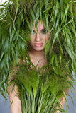 Ecology woman. In green concept Royalty Free Stock Images