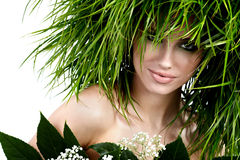 Ecology woman, green concept. Ecology woman, green eco concept Royalty Free Stock Image