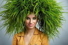 Ecology woman, green concept. Ecology woman, green eco concept Stock Photography