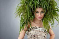 Ecology woman, green concept. Ecology woman, eco fashion green concept Royalty Free Stock Photo
