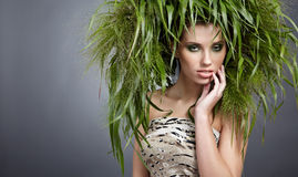 Ecology woman, green concept. Ecology woman, eco fashion green concept Royalty Free Stock Photos