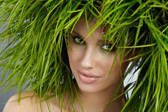 Ecology woman, green concept. Ecology woman, abstract green concept Royalty Free Stock Photos