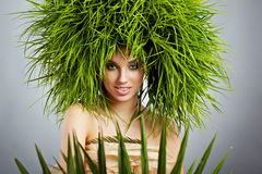 Ecology woman , green concept. Ecology woman in green concept Stock Image