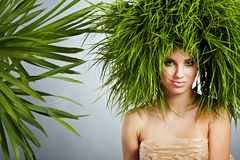 Ecology woman , green concept. Ecology woman in green concept Royalty Free Stock Photos