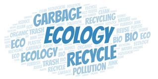 Ecology word cloud. Wordcloud made with text only vector illustration