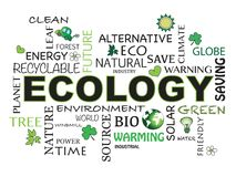 Ecology word background. Ecology word concept illustration with icons Royalty Free Stock Photo