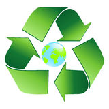 Ecology world. Logo in a vector format ecology world. Green arrows and the globe in the center Stock Images