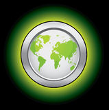 Ecology world button. Ecology globe button from a series in my portfolio Royalty Free Stock Photography