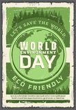 Ecology world environment day, retro vector poster. World environment day, earth protection. Vector eco friendly holiday of planet protection, globe with firs vector illustration