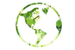 Ecology world map, green forest design. Royalty Free Stock Photo