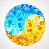 Ecology yinyang. Blue  water and yellow sun Royalty Free Stock Photos