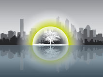 Ecologycal concept. Cityscape in ecologycal concept with white tree Stock Photos