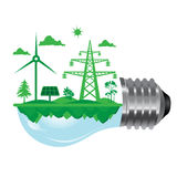 Ecoloy illustration Lamp bulb with clean nature and renewable energy symbol inside Stock Photos