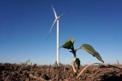 Ecomacht, windturbines met blauwe hemel windturbine voor alternatieve elektriciteit vernieuwbaar elektrisch landbouwbedrijf met d royalty-vrije stock fotografie