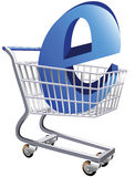 Ecommerce. Illustration of a shopping cart with a large E symbol representing ecommerce royalty free illustration