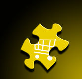 ECommerce. A photo of a puzzle piece with a shopping cart overlay Stock Image
