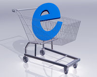 Ecommerce. Illustration of a shopping cart with a large E symbol representing ecommerce Stock Photos