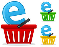Ecommerce Business Concept. E-commerce business concept with a shopping basket in three different colors (red, green, yellow), on white background. Eps file Stock Photo