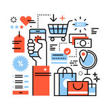 Ecommerce business concept. Purchasing goods in internet store via smart phone, online shopping, worldwide order delivery and payment. Thin line art flat Stock Images