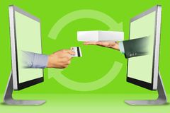 Ecommerce buy good concept, hands from displays. hand with credit card and hand with white tablet computer box. 3d illustration. E-commerce concept, hands from royalty free stock image