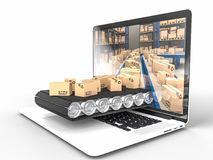 Ecommerce concept background. Conveyor with boxes inside of notebook 3d rendering image Stock Photography