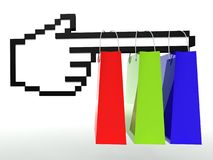 Ecommerce concept, shopping bag with hand icon Stock Images