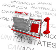 Ecommerce concept shopping cart to check out Royalty Free Stock Photography