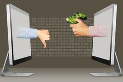 Ecommerce concept, two hands from computers. thumbs down, dislike and joystick. 3d illustration. Web concept, hands from computers. thumbs down, dislike and royalty free illustration