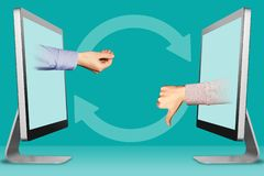 Ecommerce concept, two hands from displays. pleading gesture and thumbs down, dislike. 3d illustration. Online concept, hands from displays. pleading gesture and royalty free illustration