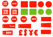 Ecommerce Essentials 1. A selection of tags, badges, flashes symbols and icons ideal for retailers Royalty Free Stock Images