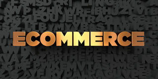 Ecommerce - Gold text on black background - 3D rendered royalty free stock picture. This image can be used for an online website banner ad or a print postcard vector illustration