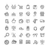 Ecommerce Icon Black Thin Line Set. Vector Royalty Free Stock Photography