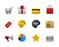 Ecommerce icons. Ecommerce web icons with shopping cart, gift, bag, and etc Royalty Free Stock Photos