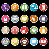 Ecommerce icons with long shadow. Stock vector Royalty Free Stock Photography