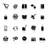 Ecommerce icons with reflect on white background Royalty Free Stock Photos