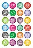 Ecommerce icons - round icons Stock Photos