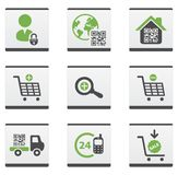 Ecommerce icons set. Green and dark grey ecommerce icons set Stock Photos