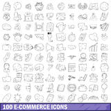 100 ecommerce icons set, outline style Royalty Free Stock Image