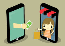 Ecommerce job. One mobile is shop that has woman carry paperback and one mobile is customer who is hand carry money for exchange Royalty Free Stock Photos